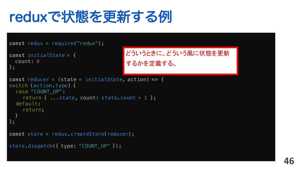 "SFEVYͰঢ়ଶΛߋ৽͢Δྫ 46 const redux = require(""redux""..."