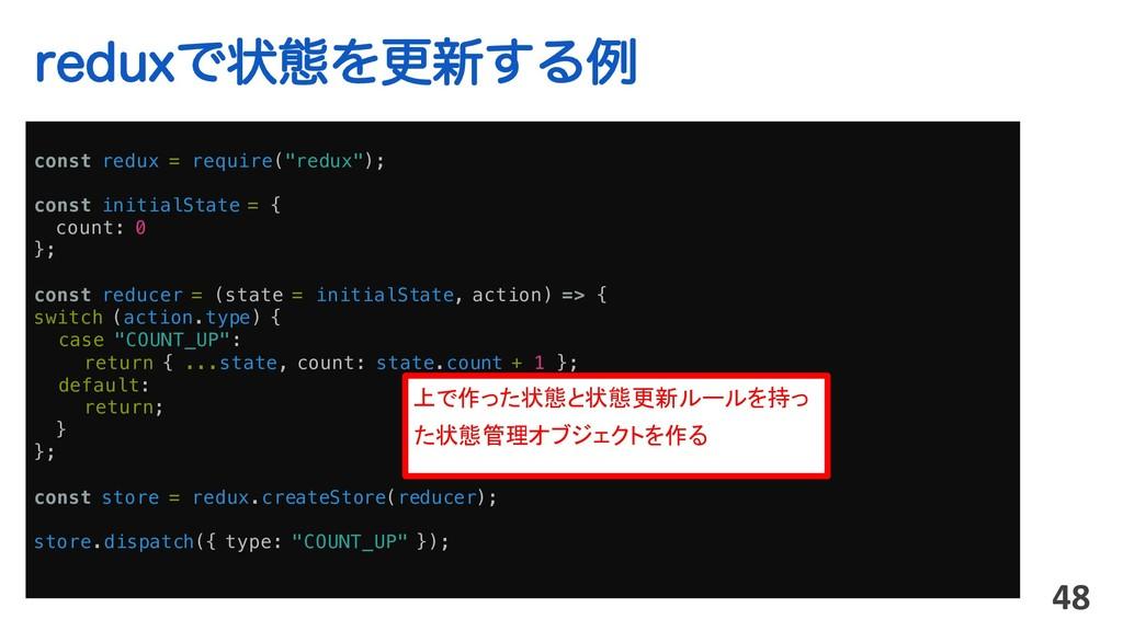 "SFEVYͰঢ়ଶΛߋ৽͢Δྫ 48 const redux = require(""redux""..."