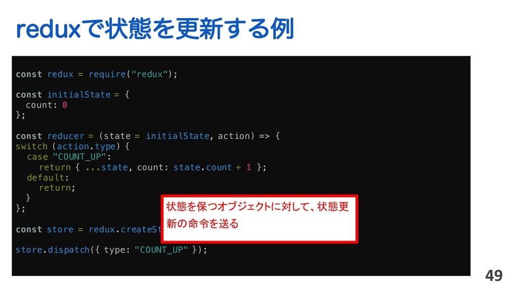 "SFEVYͰঢ়ଶΛߋ৽͢Δྫ 49 const redux = require(""redux""..."