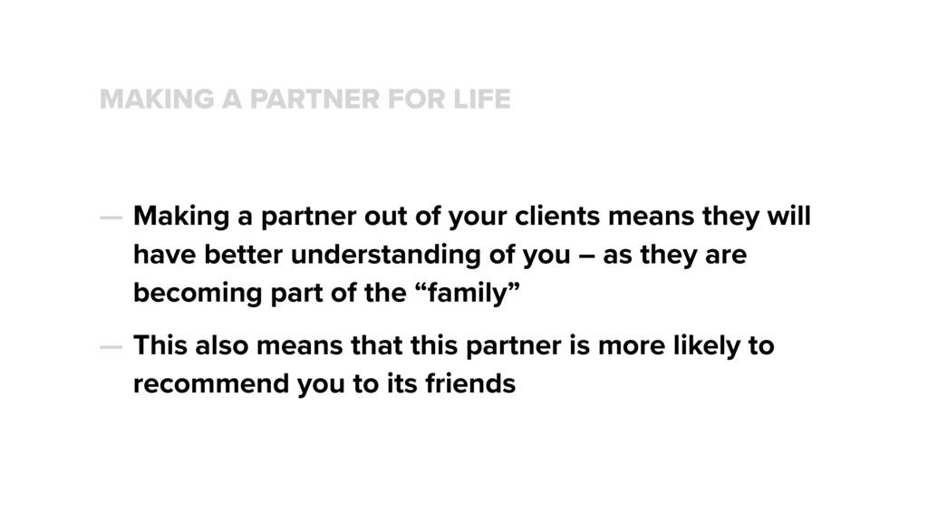 MAKING A PARTNER FOR LIFE — Making a partner ou...