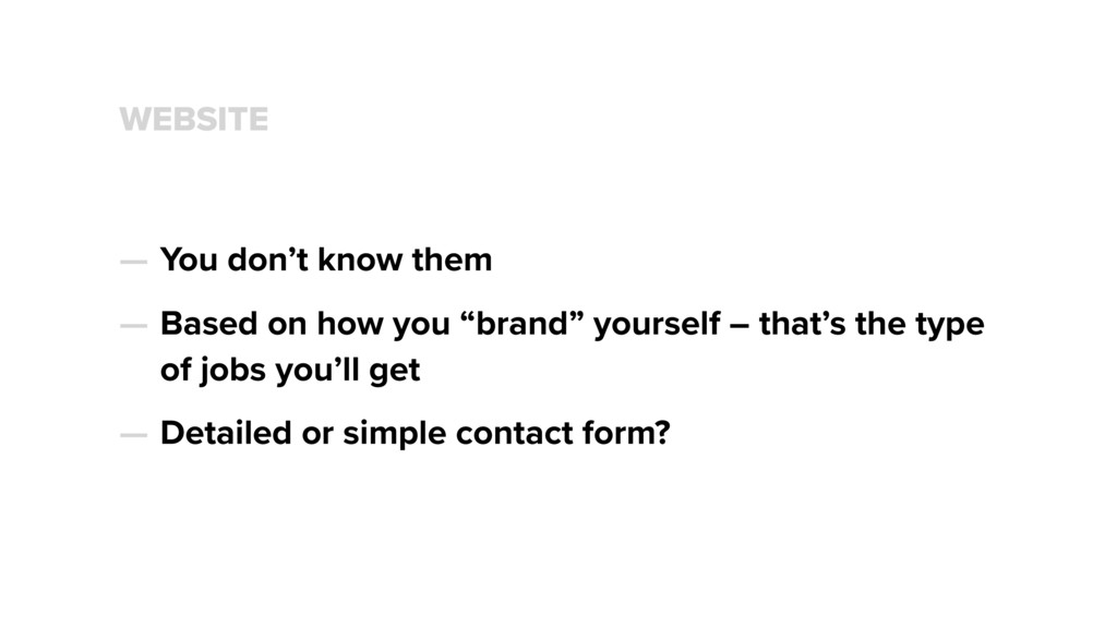 WEBSITE — You don't know them — Based on how yo...
