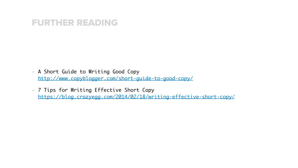 — A Short Guide to Writing Good Copy http://ww...