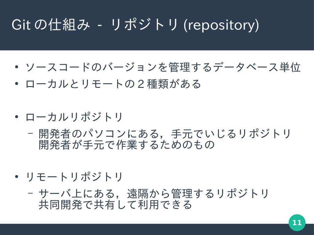 11 Git の仕組み - リポジトリ (repository) ● ソースコードのバージョン...