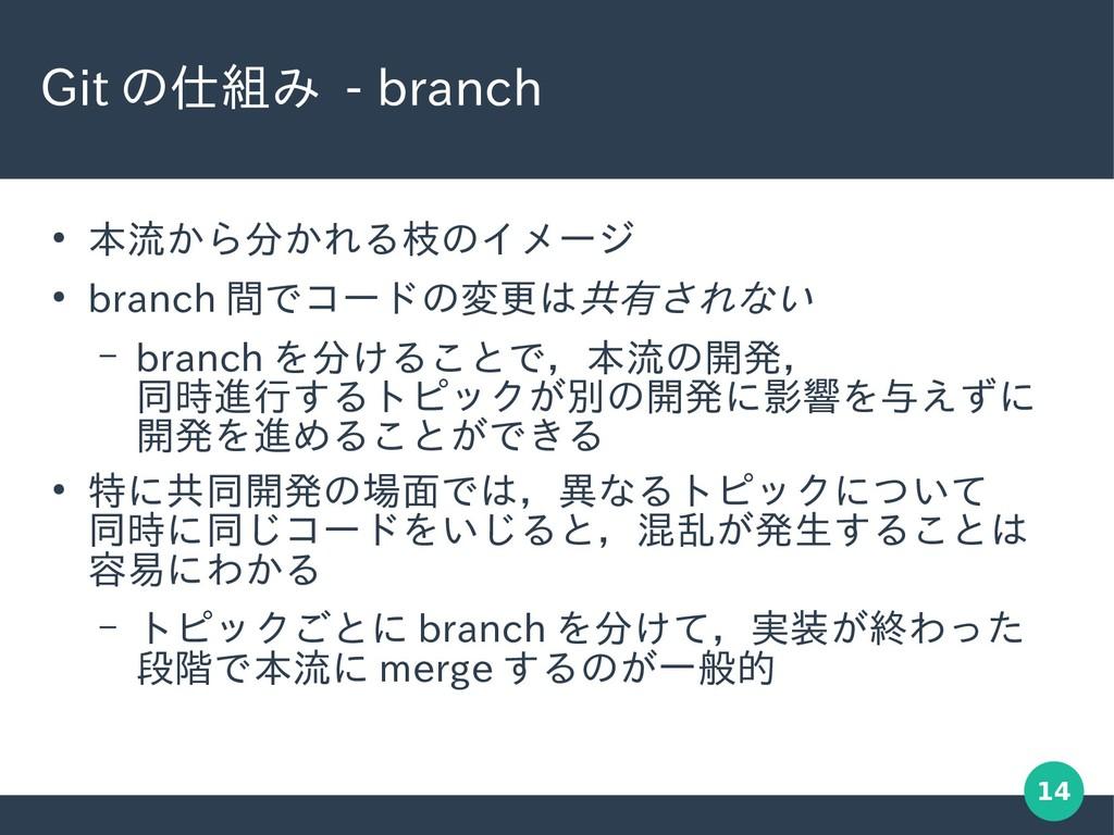 14 Git の仕組み - branch ● 本流から分かれる枝のイメージ ● branch ...