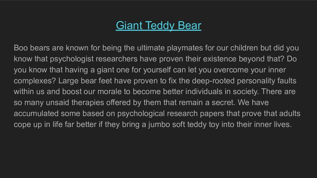 Giant Teddy Bear Boo bears are known for being ...