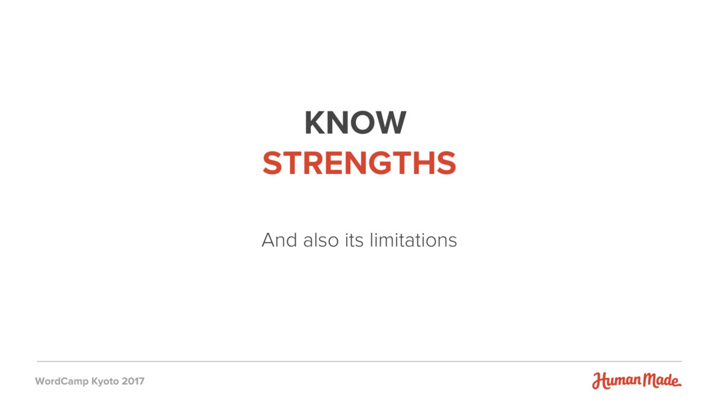 KNOW STRENGTHS And also its limitations