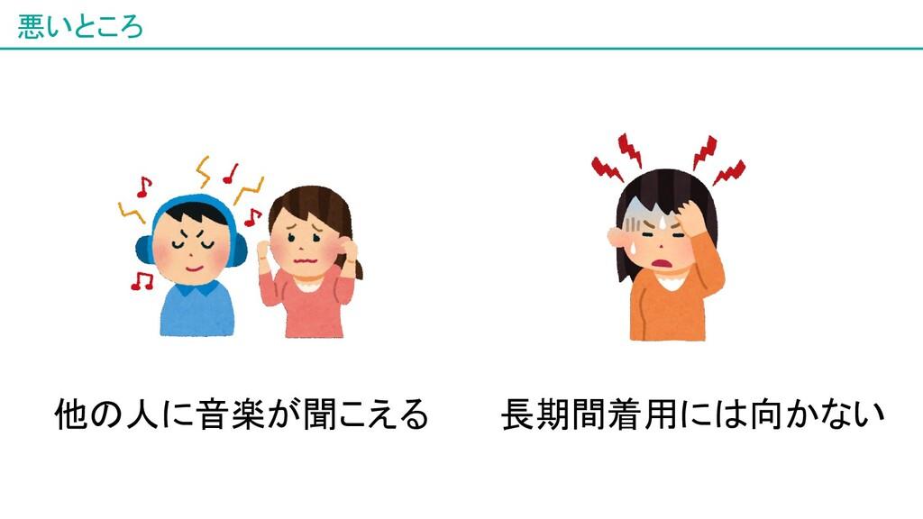悪いところ 8 他の人に音楽が聞こえる 長期間着用には向かない