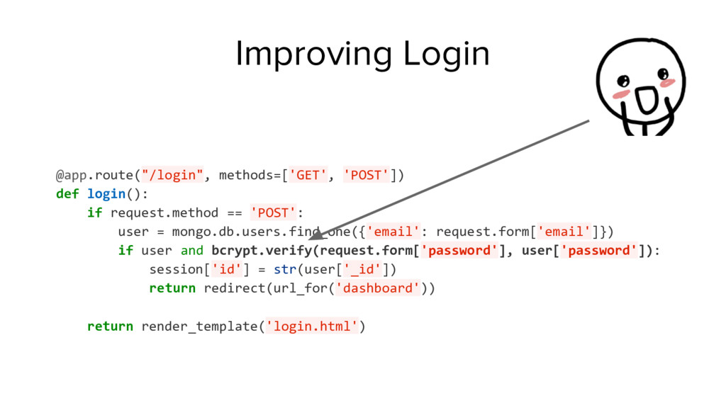 "Improving Login @app.route(""/login"", methods=['..."