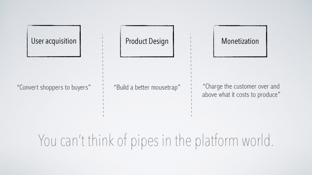 You can't think of pipes in the platform world....