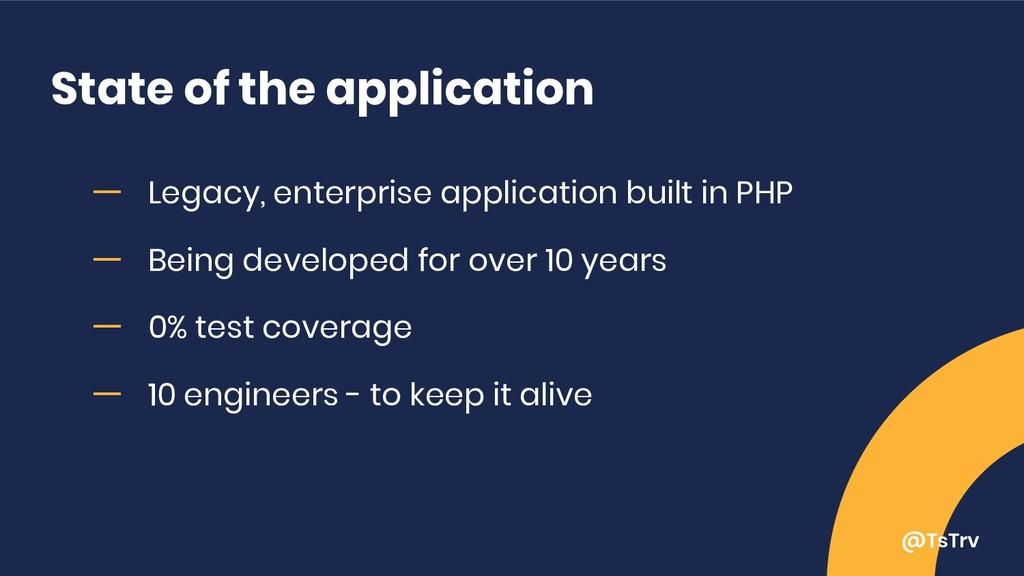 @TsTrv State of the application ー Legacy, enter...