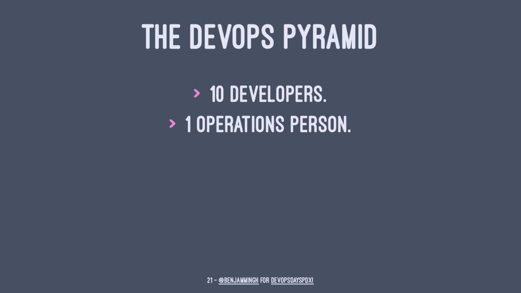 THE DEVOPS PYRAMID > 10 Developers. > 1 Operati...