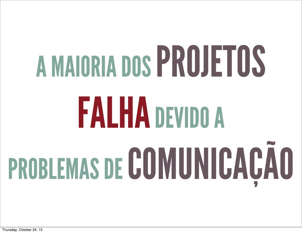 A MAIORIA DOS PROJETOS FALHA DEVIDO A PROBLEMAS...