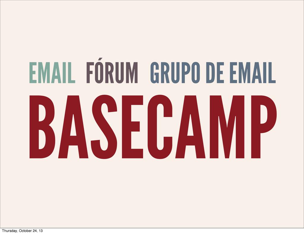 EMAIL BASECAMP GRUPO DE EMAIL FÓRUM Thursday, O...
