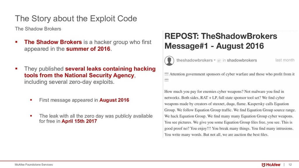 12 McAfee Foundstone Services The Shadow Broker...