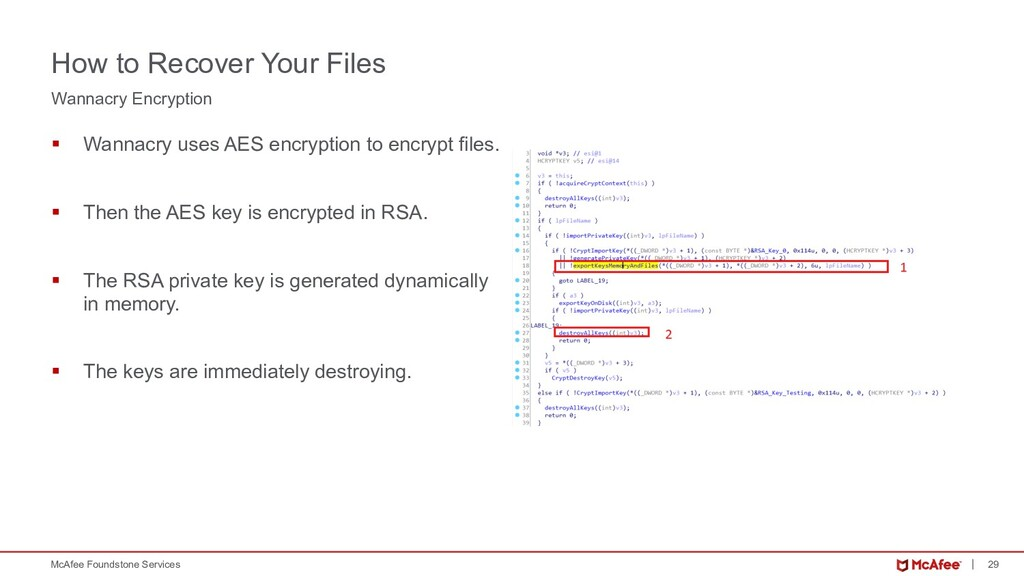 29 McAfee Foundstone Services § Wannacry uses A...