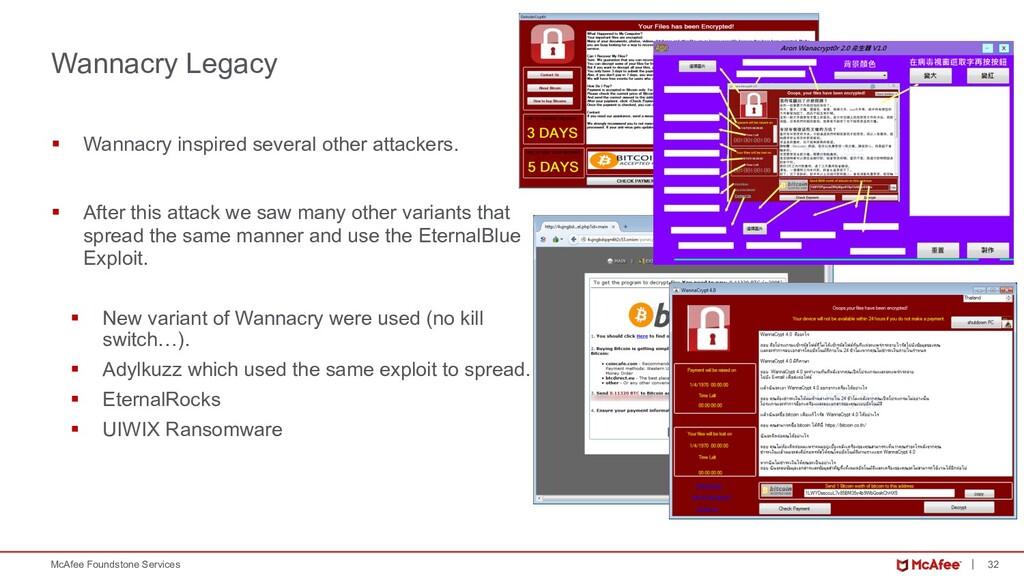 32 McAfee Foundstone Services § Wannacry inspir...
