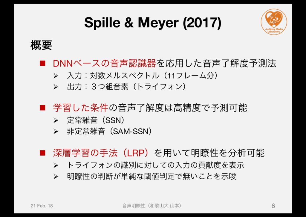Spille & Meyer (2017) n DNNϕʔεͷԻࣝثΛԠ༻ͨ͠Իྃղ༧...