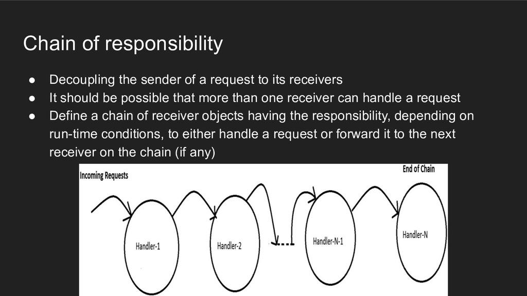 Chain of responsibility ● Decoupling the sender...