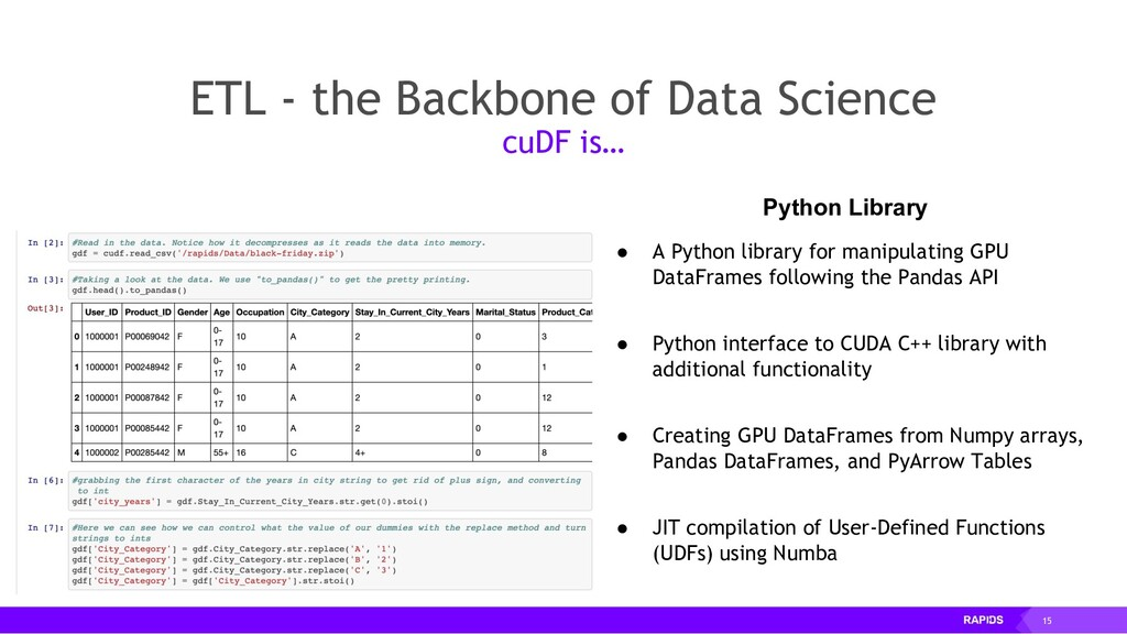 15 ETL - the Backbone of Data Science cuDF is… ...