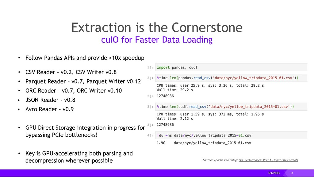 17 • Follow Pandas APIs and provide >10x speedu...