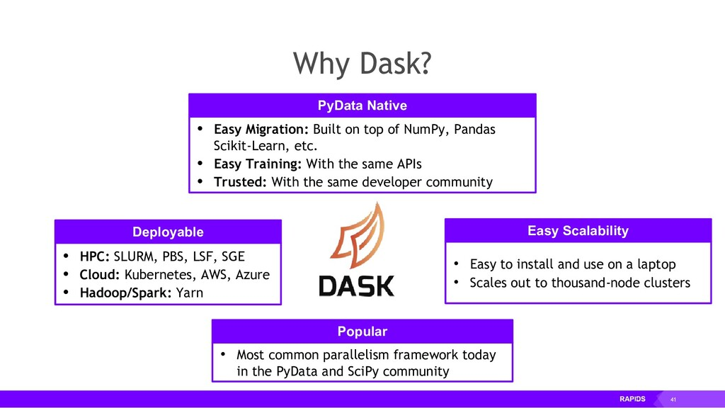 41 Why Dask? • Easy Migration: Built on top of ...