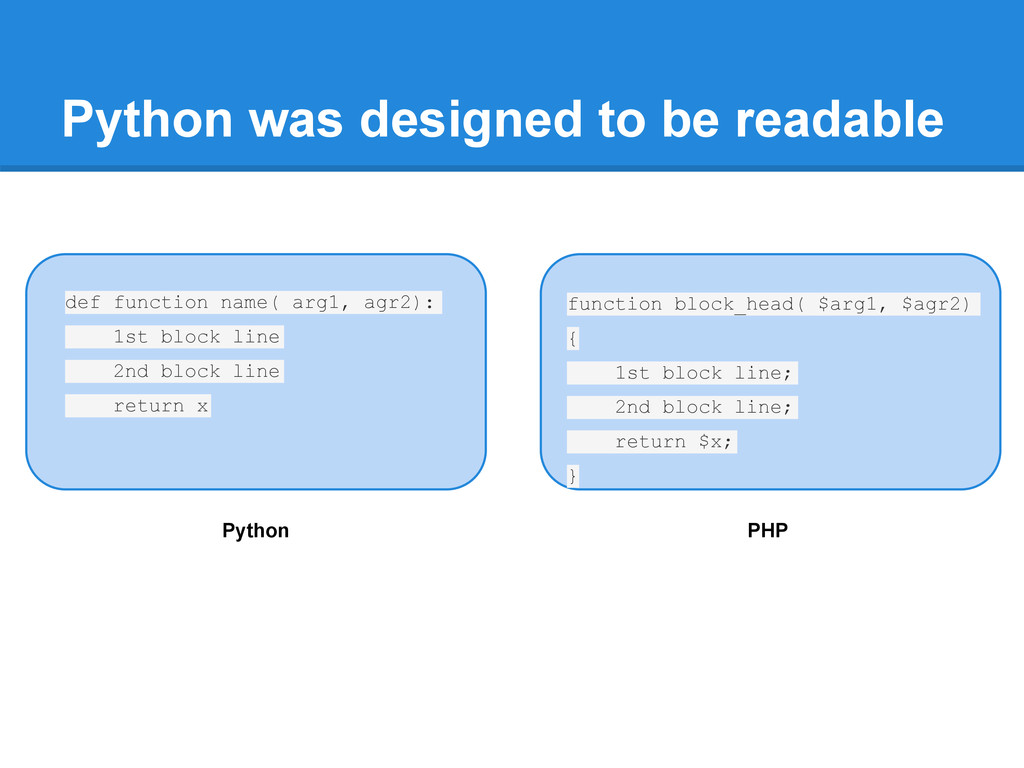 Python was designed to be readable def function...
