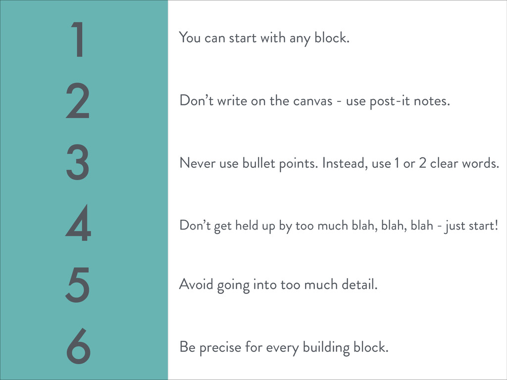 You can start with any block. 1 2 3 4 5 6 Don't...