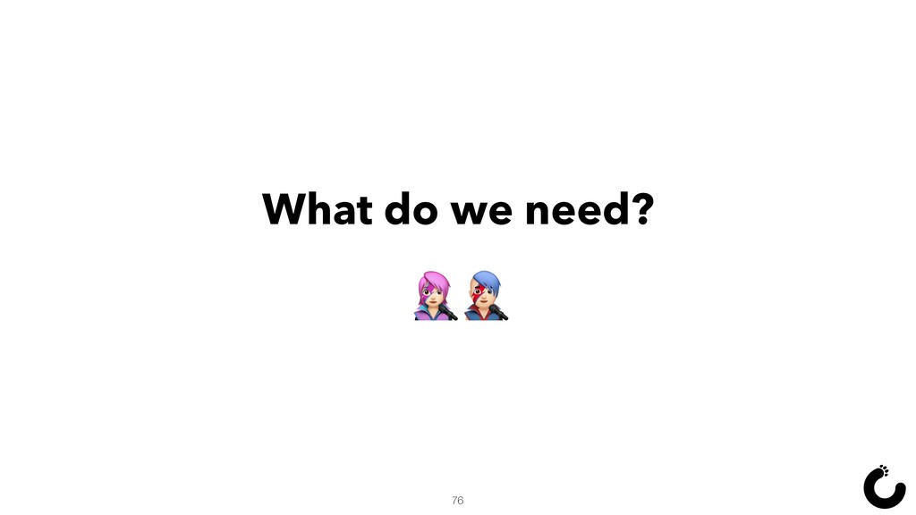 What do we need? Š‹ 76
