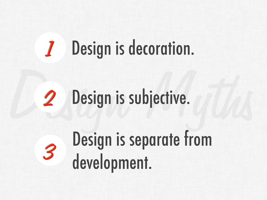 Design Myths 1 Design is decoration. Design is ...
