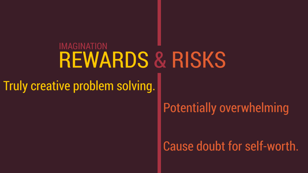 REWARDS & RISKS Truly creative problem solving....