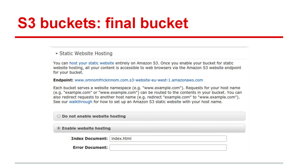 S3 buckets: final bucket