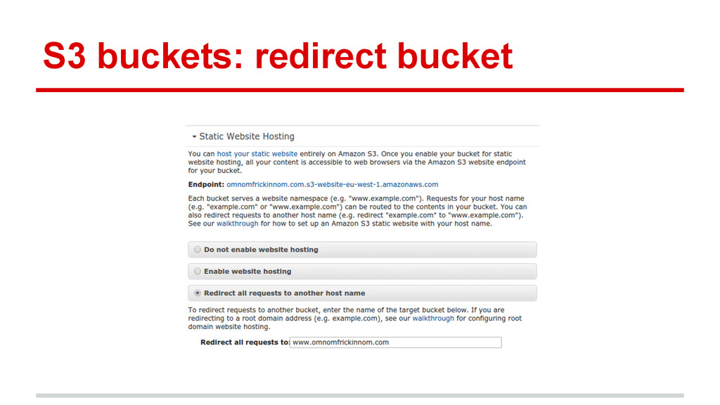 S3 buckets: redirect bucket