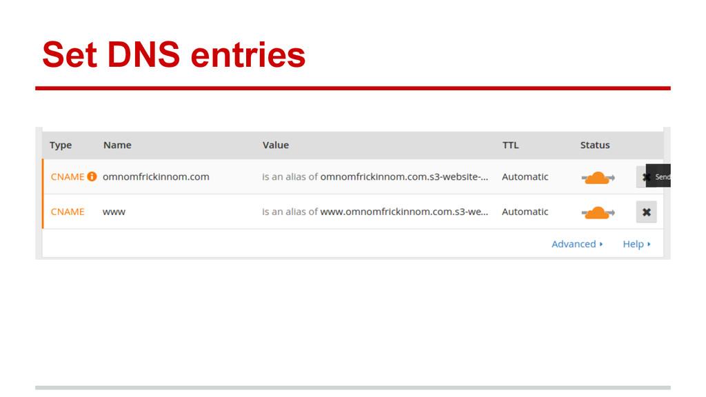 Set DNS entries