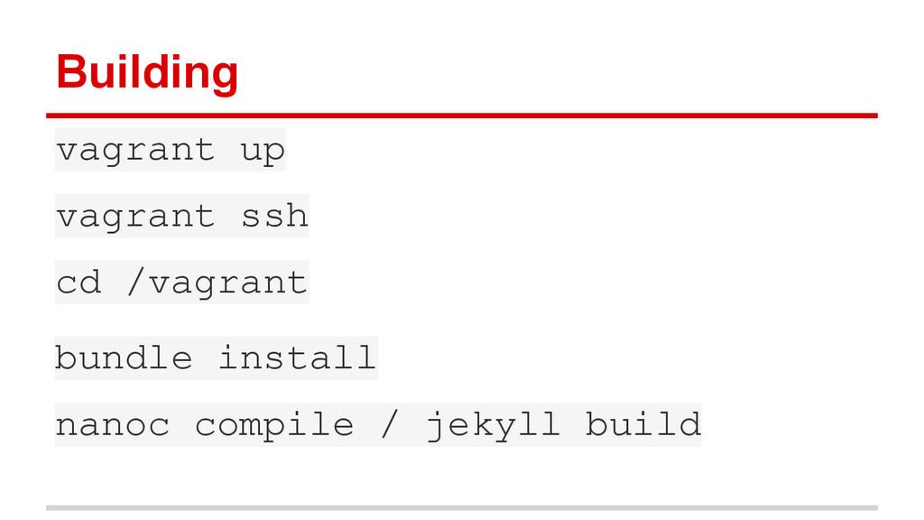 Building vagrant up vagrant ssh cd /vagrant bun...