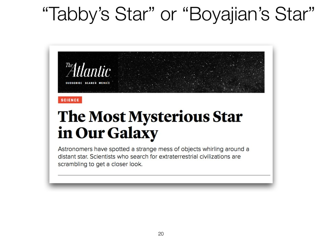 "!20 ""Tabby's Star"" or ""Boyajian's Star"""