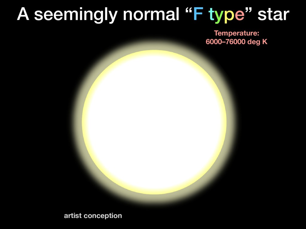"A seemingly normal ""F type"" star Temperature: 6..."