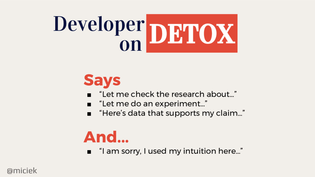 "@miciek Developer DETOX on Says ■ ""Let me check..."