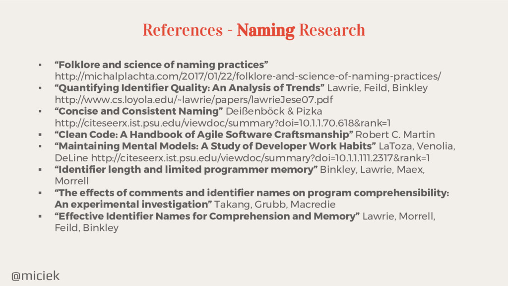"""@miciek ▪ """"Folklore and science of naming pract..."""