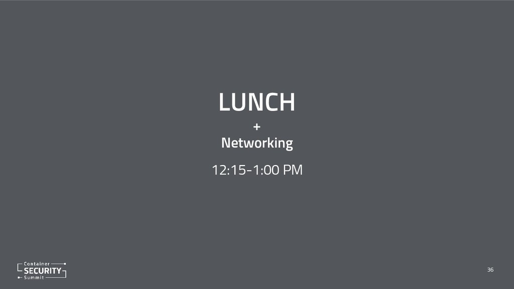 LUNCH + Networking 36 12:15-1:00 PM
