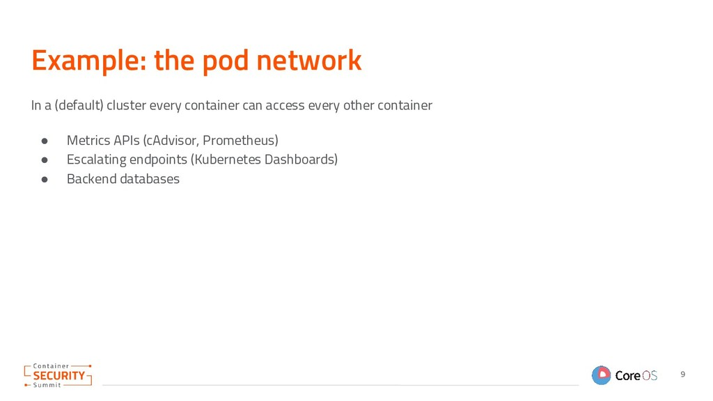 Example: the pod network In a (default) cluster...