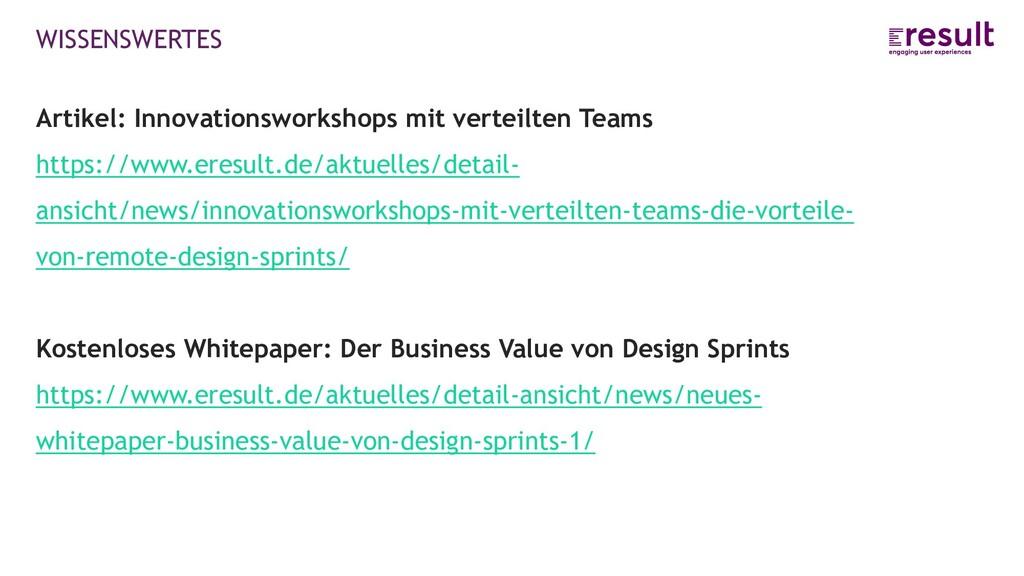 WISSENSWERTES Artikel: Innovationsworkshops mit...