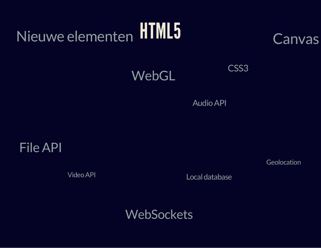 HTML5 Nieuwe elementen Local database Geolocati...