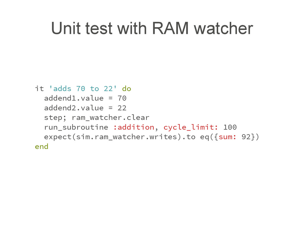 Unit test with RAM watcher it 'adds 70 to 22' d...