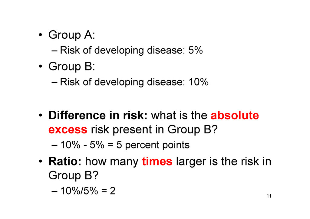 • Group A: –Risk of developing disease: 5% •...
