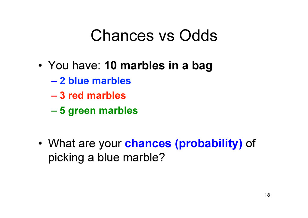 Chances vs Odds • You have: 10 marbles in a ba...