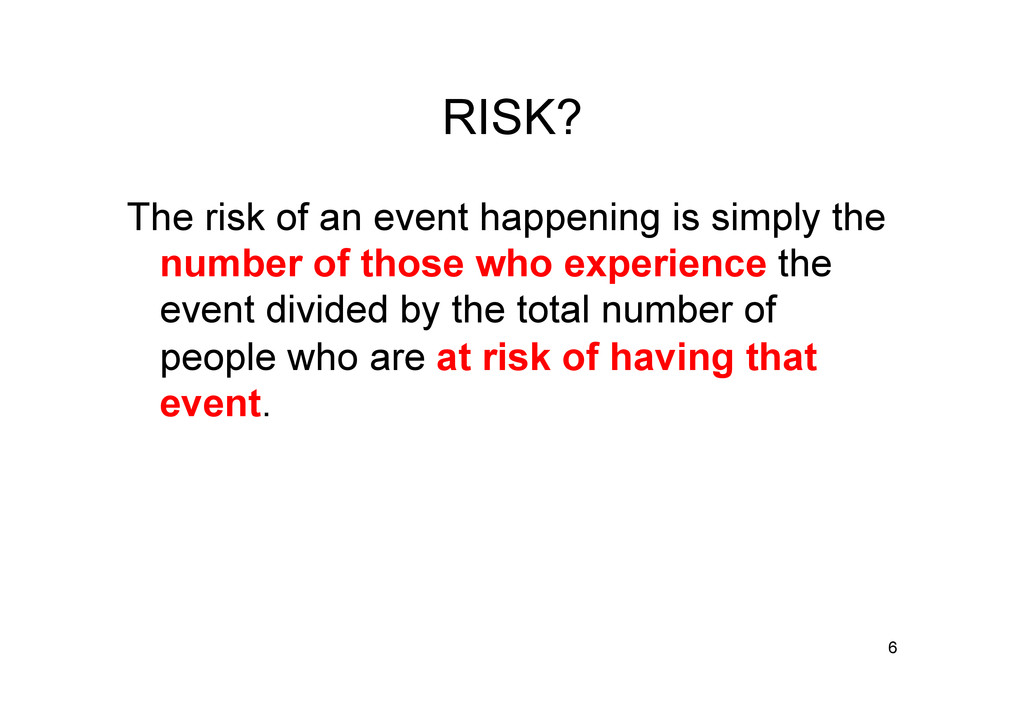 RISK? The risk of an event happening is simply ...