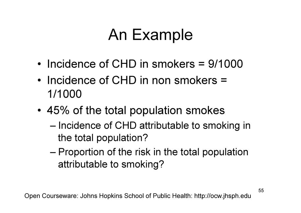 An Example • Incidence of CHD in smokers = 9/1...