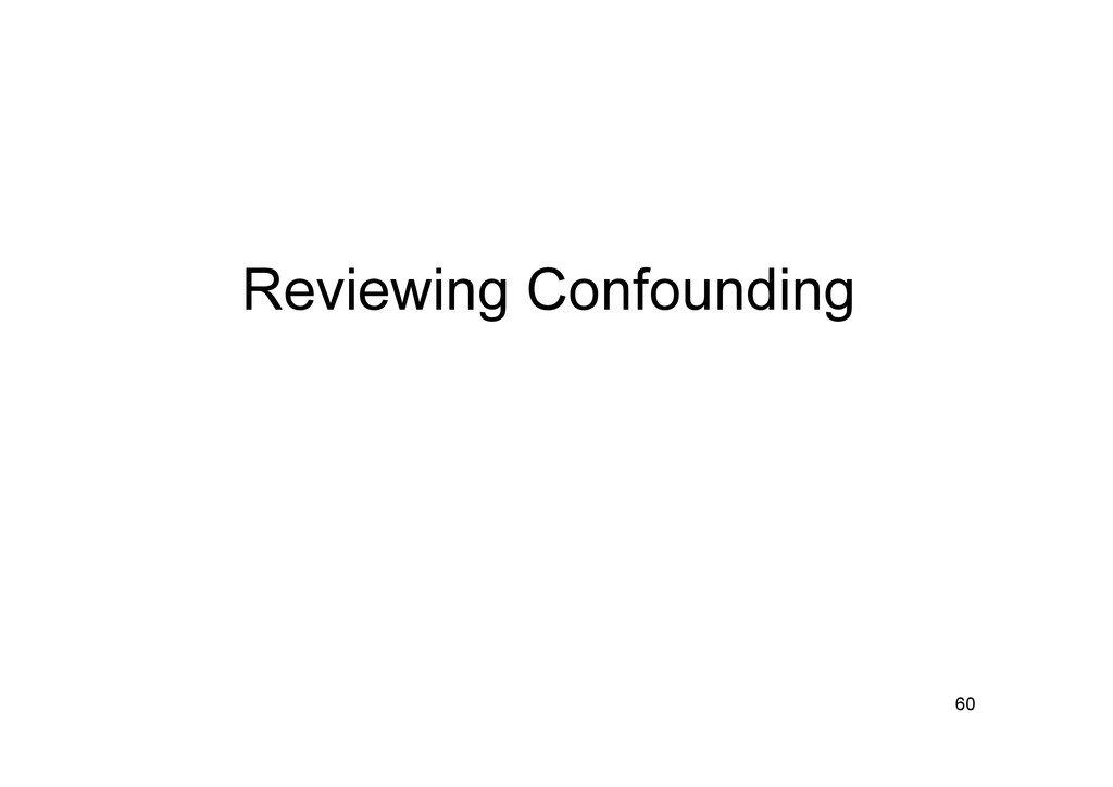 Reviewing Confounding 60