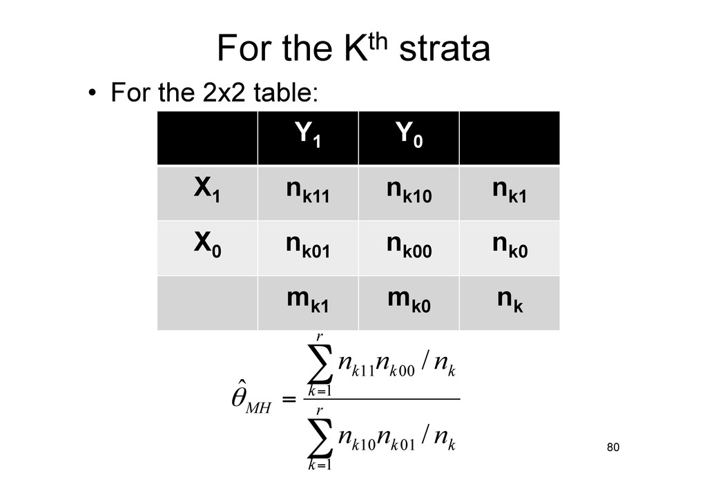 For the Kth strata • For the 2x2 table: 80 ∑ ∑...