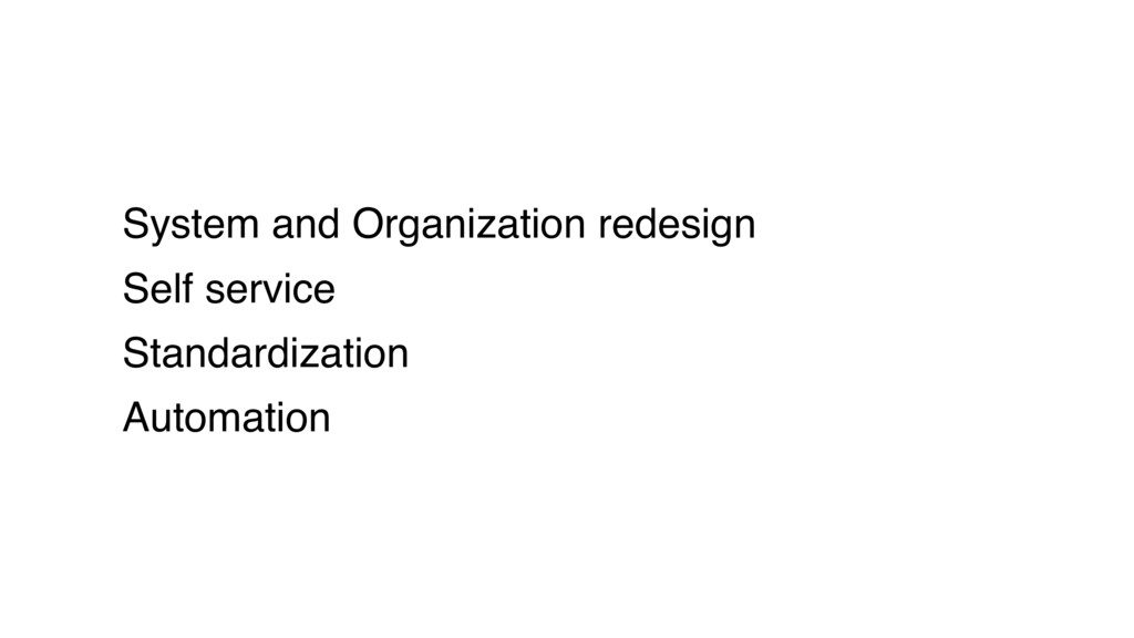 System and Organization redesign Self service S...